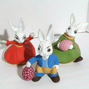 Set Of Three Glittery Bunnies Made In 1974